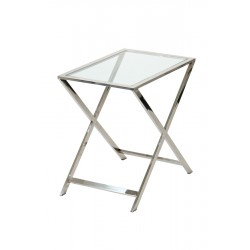 Metalowy niklowany stolik szklany