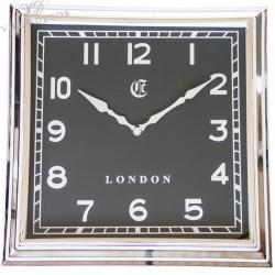 Niklowany zegar New York Black 36x36