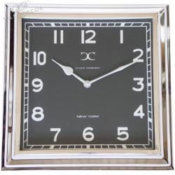 Niklowany zegar New York Black 30x30