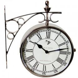 Niklowany zegar dworcowy