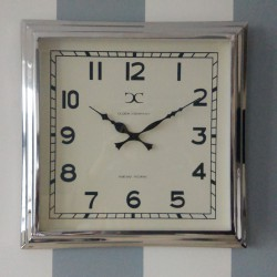Niklowany zegar New York-London White 30x30