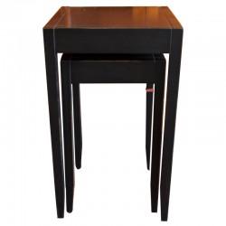 Drewniany czarny stolik boczny 2w1