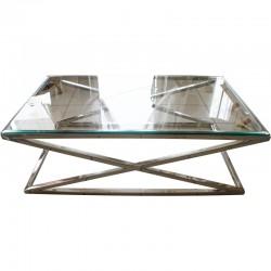 Nowoczesna niklowana ława ze szklaną szybą