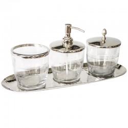 Zestaw łazienkowy z kryształu i niklu