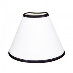 Biały abażur stożkowy z czarną lamówką