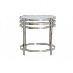 Niklowany stolik boczny Modern New York Ø 50