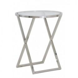 Stalowy niklowany szklany  stolik boczny na lampę stołową