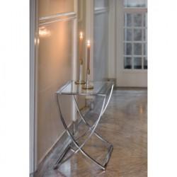 Niklowany szklany stolik boczny do sofy