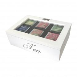 BIałe drewniane pudełeczko/segregator na herbaty