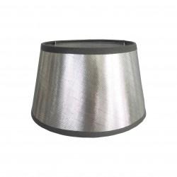 Srebrny abażur z błyszczacej tafty- kinkietowy-T
