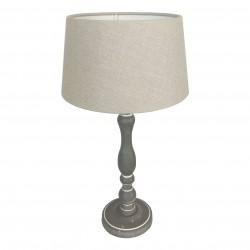 Drewniana lampa stołowa pudrowy szary