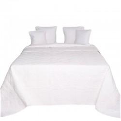 Bawełniana biała pikowana narzuta 230x260 w koniczynkę