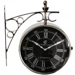 Duży niklowany zegar dworcowy czarna tarcza