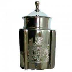 Elegancki niklowany pojemnik z grawerem