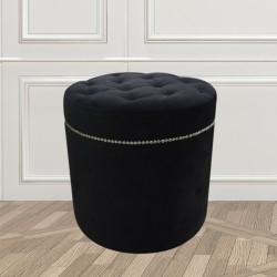 Czarna welurowa pikowana pufa New York Glamour