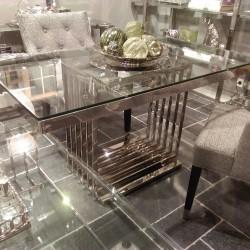 Ekskluzywny stół 160x80x76 z blatem szklanym wnętrza nowoczesne, New York