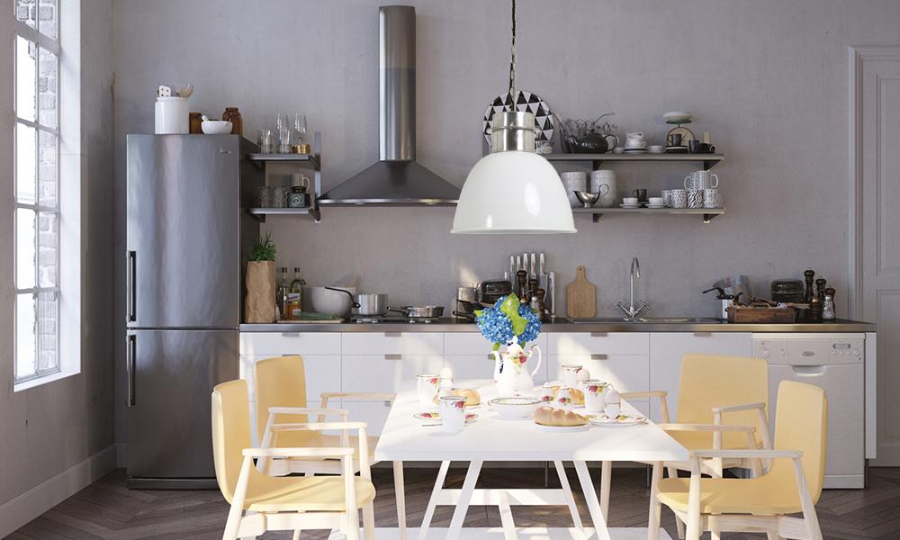 Biała lampa nad stół w stylu skandynawskim.