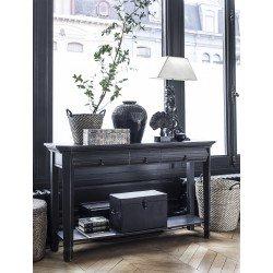 Czarna drewniana konsola do przedpokoju w stylu Elegant Classic