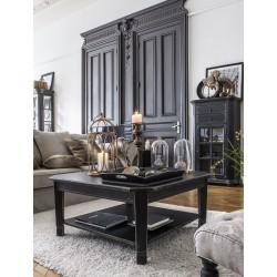 Czarny drewniany stolik kawowy do salonu Elegant Classic