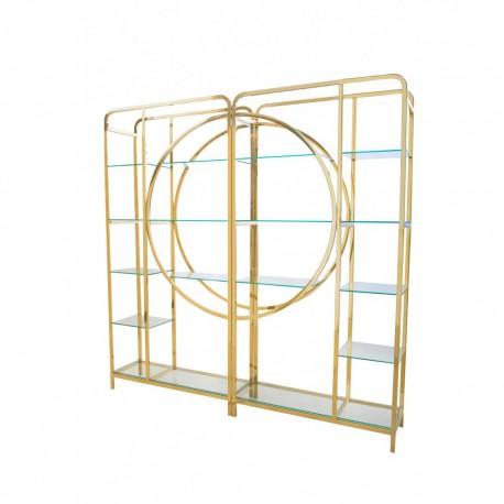 Złoty metalowy reagał szklane półki do salonu Aet Deco