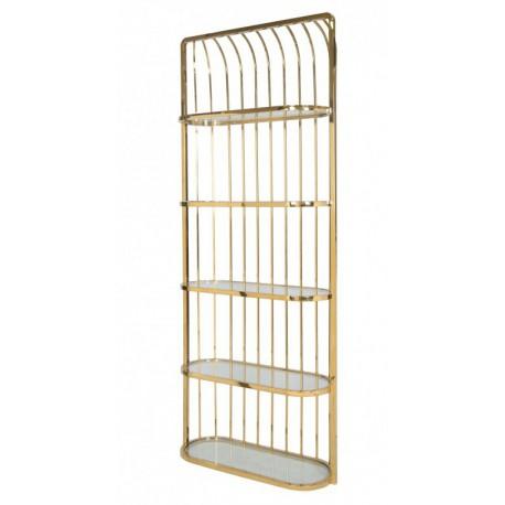 Modny złoty regał do gabinetu lub salonu szklane półki