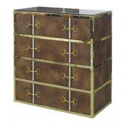 Art Deco złota komoda do sypialni z szufladami obota skórą