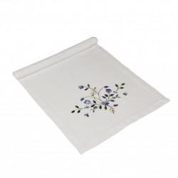 Biały bieżnik na ławę stół modny kwiatowy motyw
