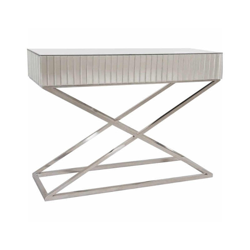 Konsola lustrzana srebrna do salonu lub na korytarz