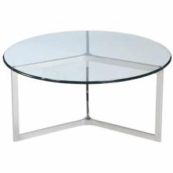 Stolik kawowy szklany -okrągły-stal nierdzewna