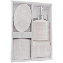 Dozownik do mydła kubeczek na szczoteczki mydelniczka zestaw