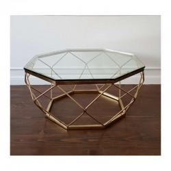 Art Deco luksusowa złota niklowana ława do salonu