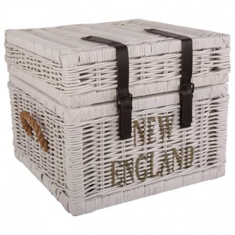 Biaa skrzynia rattanowa 55 x 55 x 45 na drewno ubrania zabawki