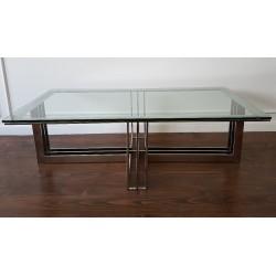 Modern Classic niklowana szklana ława salon