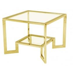 Elegancki stolik kawowy boczny - Kwadratowy stolik kawowy na złotych nogach