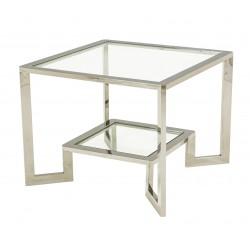 Luksusowy niklowany stolik ława 65x65x50 model Eichholtz