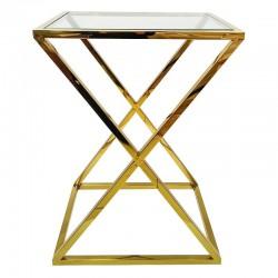 Złoty stolik boczny do wnętrz Modern Classic New York Glamour