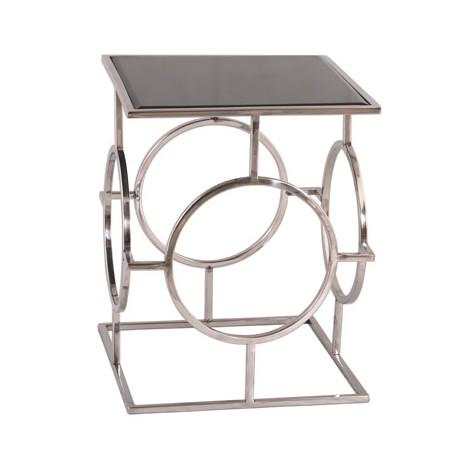 Luksusowy stolik boczny stal polerowana czarna czyba Art Deco