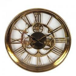 Eegancki złoty zegar na ścianę z widocznym mechanizmem