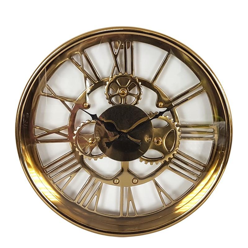 Elegancki złoty zegar Ø 34 na ścianę z widocznym mechanizmem