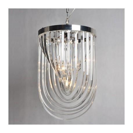 Luksusowa lampa żyrandol ze szkła i niklu
