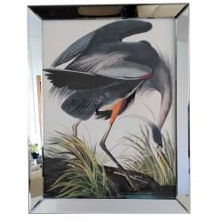 Modny obraz do salonu rama lustrzana egzotyczny ptak