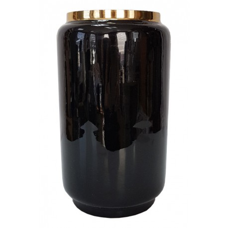 Elegancki czarny wazon wazon art deco h25
