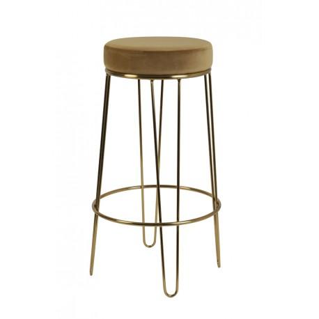 Modny hoker krzesło barowe na złotym stelażu Ø41x73,5