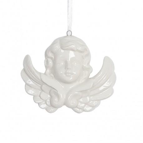 Zawieszka ceramiczny aniołek 8x9 cm