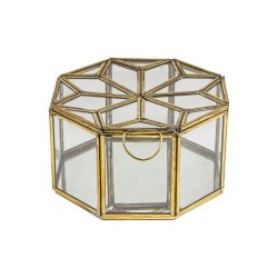 Złote pudełeczko szkatułka metal-szkło