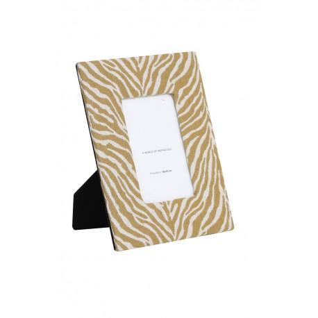 Modna welurowa ramka na zdjęcie zebra Etno biało-czarna