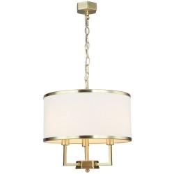 Art Deco lampa złota wisząca z abażurem