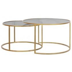 Dwia złote okrągłe stoliki kawowe w komplecie ze szklanym blatem