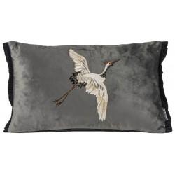 Luksusowa modna  welurowa poduszka wyszywany ptak