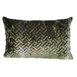 Art Deco luksusowa welurowa35x55 zielona pikowana poduszka dekoracyjna